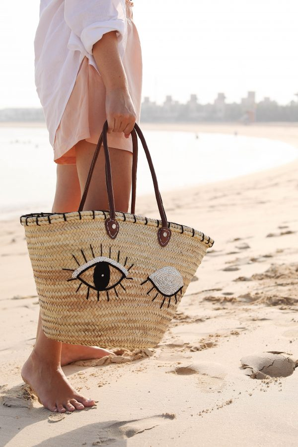 Desert Totes Moroccan Straw Tote with winking eye sequins