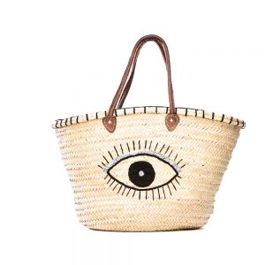 Desert Totes hand woven straw Moroccan tote bag with single eye detail