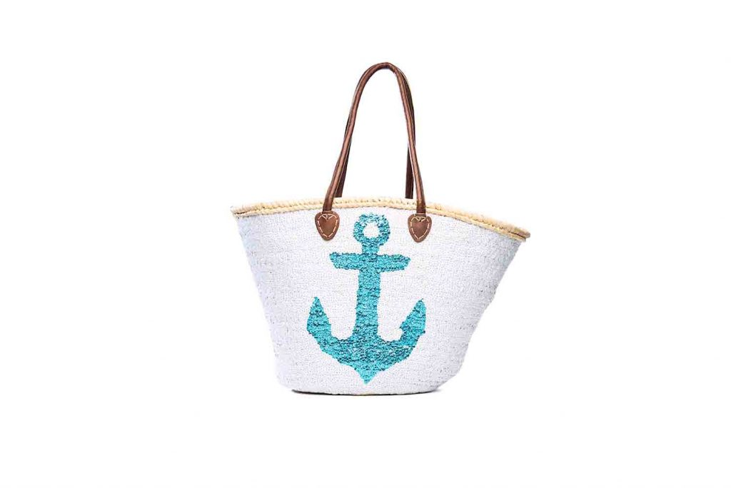 Desert Totes hand woven straw tote with sequin anchor detail