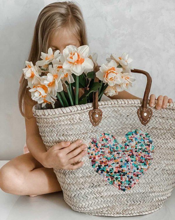 Desert Totes Multi Colour Heart Straw Beach Bag