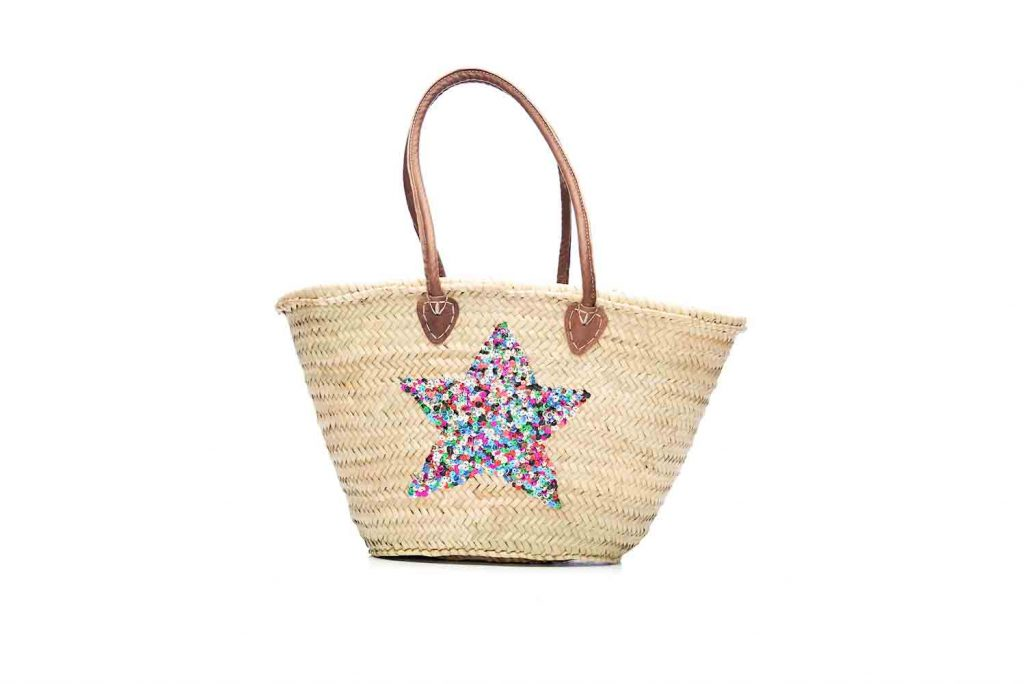 Desert Totes hand woven Moroccan straw tote bag with multi colour star detail