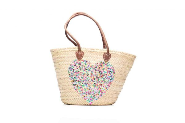 Desert Totes hand woven Moroccan straw tote bag with multi colour heart