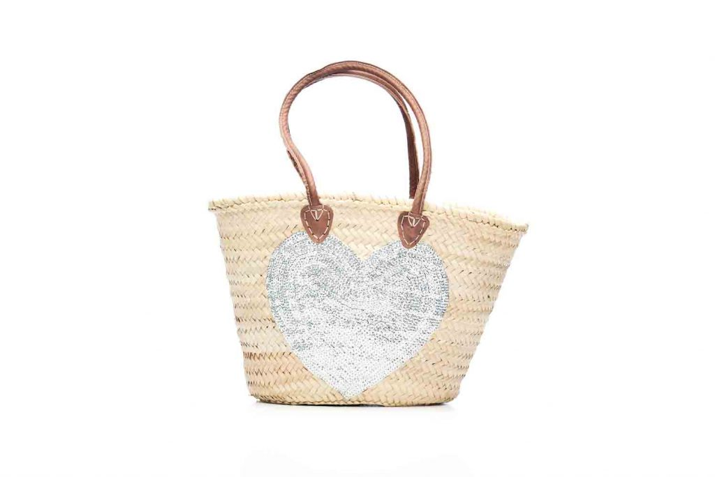 Desert Totes hand woven Moroccan straw tote bag with silver heart detail