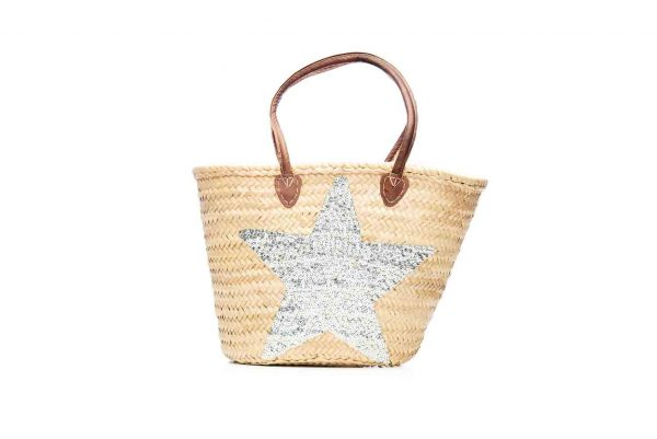 Desert Totes hand woven Moroccan straw tote bag with silver star detail
