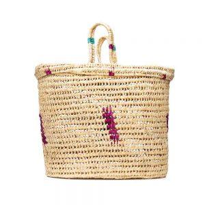 Hand woven raffia palm Moroccan picnic basket
