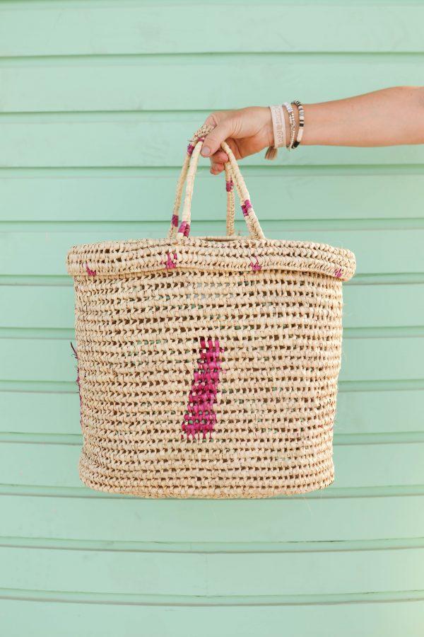 Desert Totes Raffia Palm Straw Picnic Basket