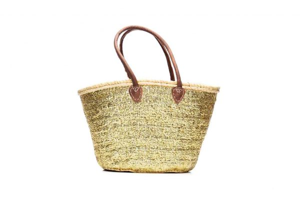 Desert Totes hand woven straw Moroccan tote bag with gold sequins