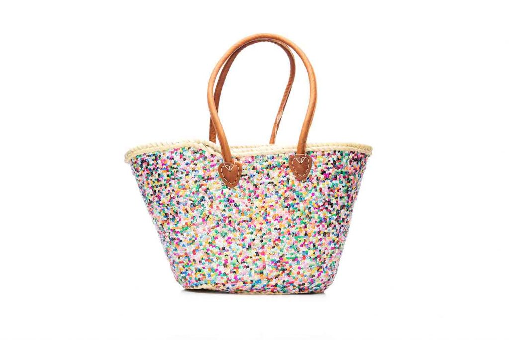 Desert Totes hand woven straw Moroccan tote bag with multi colour sequins