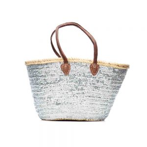 Desert Totes hand woven straw Moroccan tote bag with silver sequins