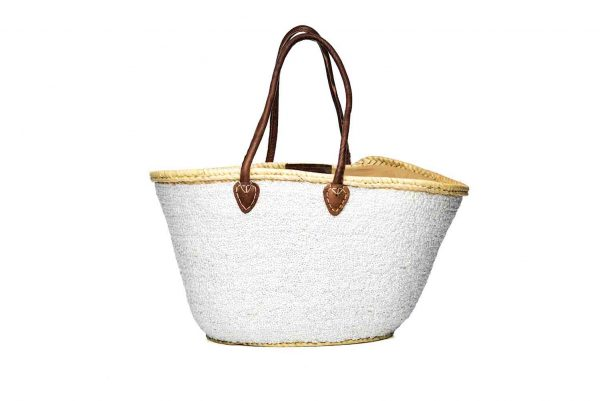 Desert Totes hand woven straw Moroccan tote bag with white sequins