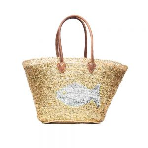 Desert Totes hand woven straw Moroccan tote bag with gold sequin fish detail