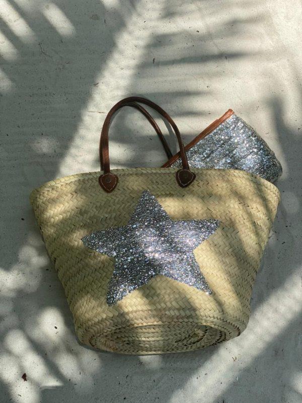 Desert Totes Silver Star Moroccan Straw Tote Bag