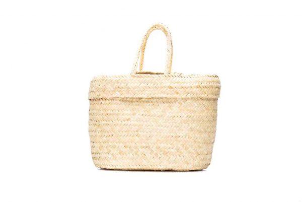Hand woven straw Moroccan picnic basket
