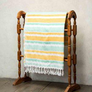 Lightweight absorbent turkish beach towel - yellow and aqua