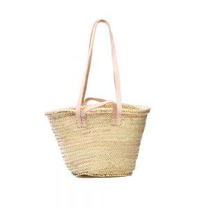 Desert Totes French Market Shopper straw tote bag with leather handles