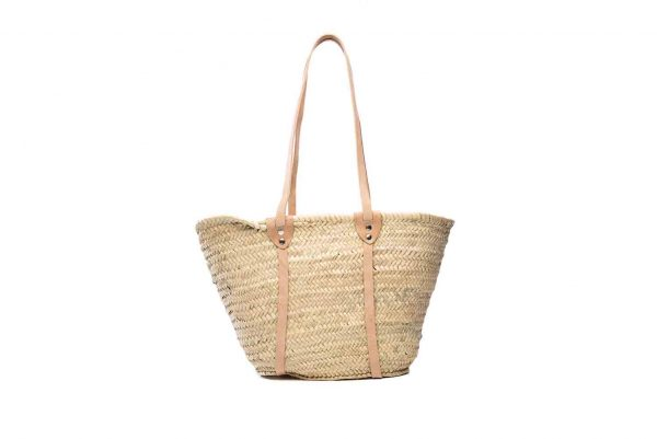 Desert Totes hand woven straw Moroccan tote bag with leather handles