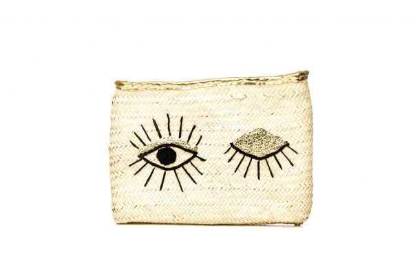 Hand woven Moroccan straw clutch bag with sequin winking eye detail