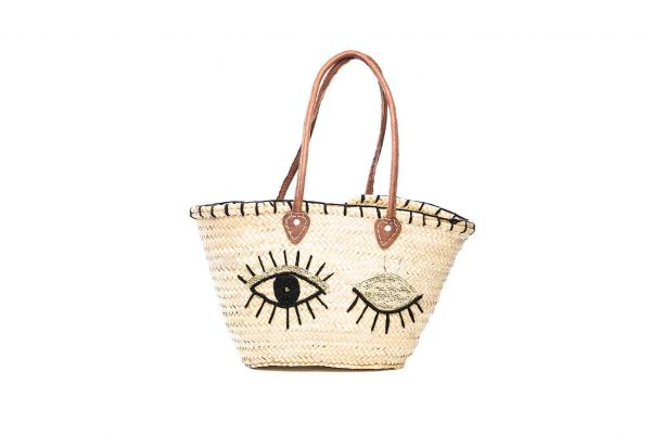 Desert Totes hand woven Moroccan straw tote bag with gold sequin eye detail