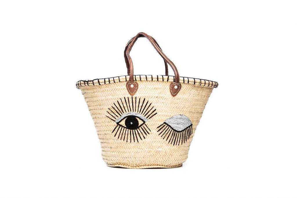Desert Totes hand woven Moroccan straw tote bag with silver sequin eye detail