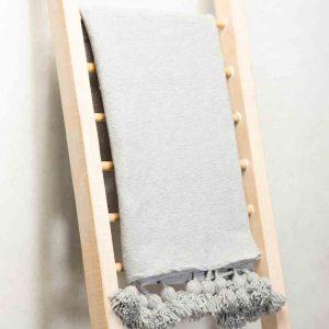 Hand made Moroccan woolen pom pom throw - grey