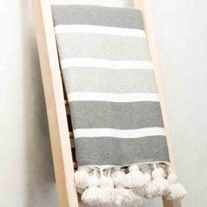 Hand made Moroccan woolen pom pom throw - grey stripes